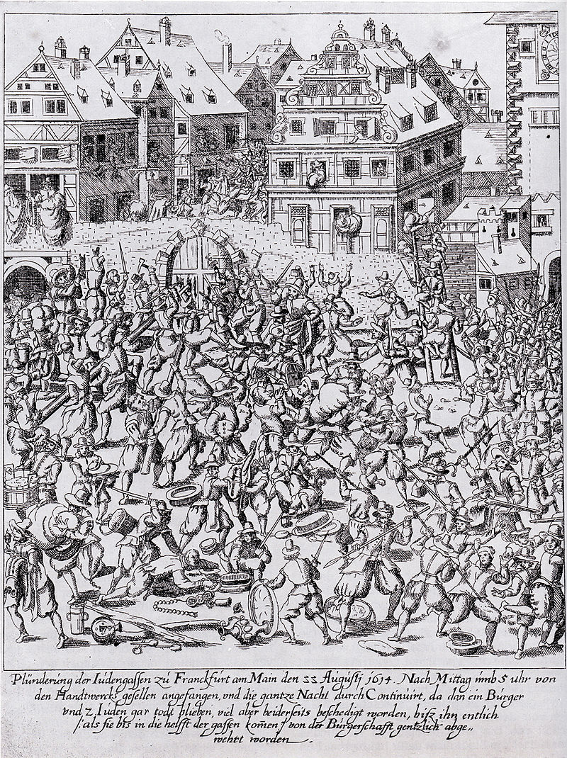 Fettmilch Riot: The plundering of the Judengasse (Jewry) in Frankfurt on August 22, 1614