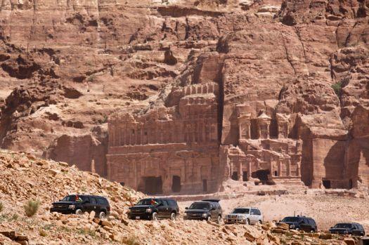The Presidential Motorcade touring Jordan's historical sites.