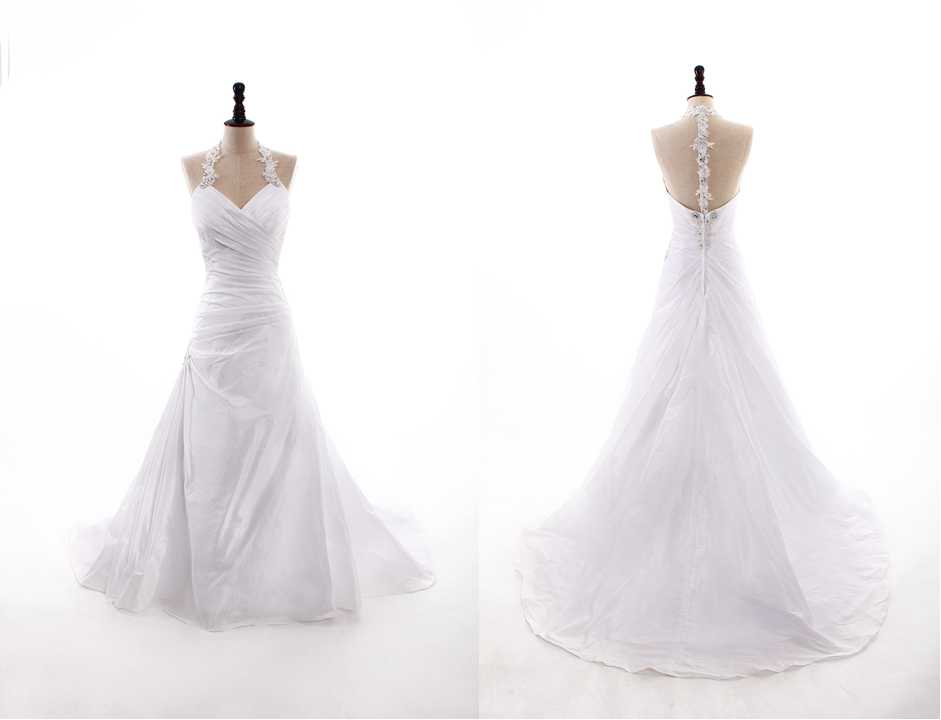 MODERN HALTER NATURAL WAIST TAFFETA WEDDING DRESS Wedding