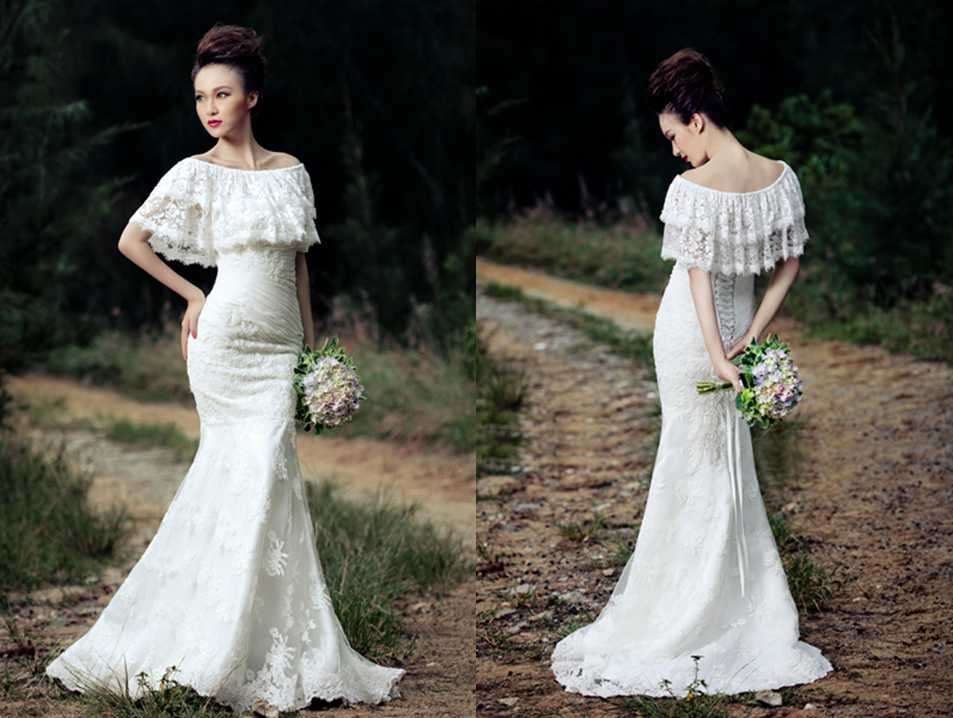 LACE FLOUNCE OFF SHOULDER TRUMPET / MERMAID WEDDING DRESS
