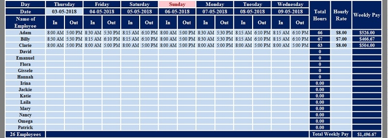 Download Multiple Employees Weekly Timesheet Excel Template     Multiple Employees Weekly Timesheet