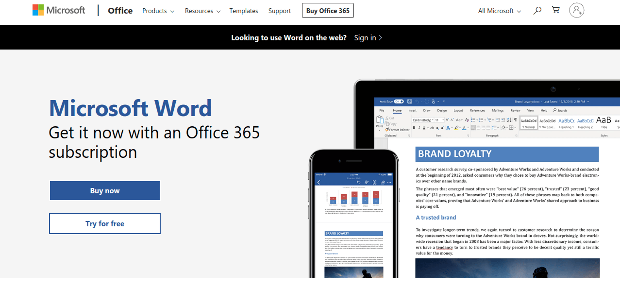 Microsoft Word dashboard