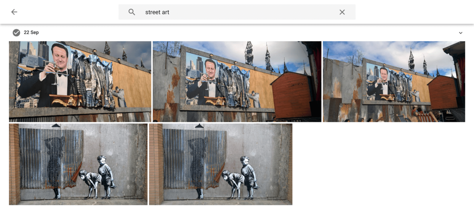 Google Photos search results for 'street art'