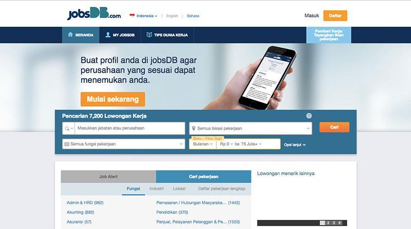 Halaman muka JobsDB | Screenshot