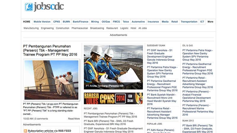 Halaman muka Jobscdc | Screenshot
