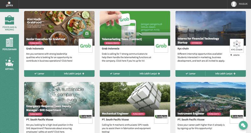 Tampilan situs layanan pencari kerja Glints   Image