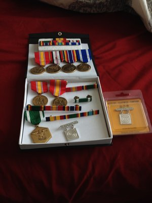 old medals and ribbons