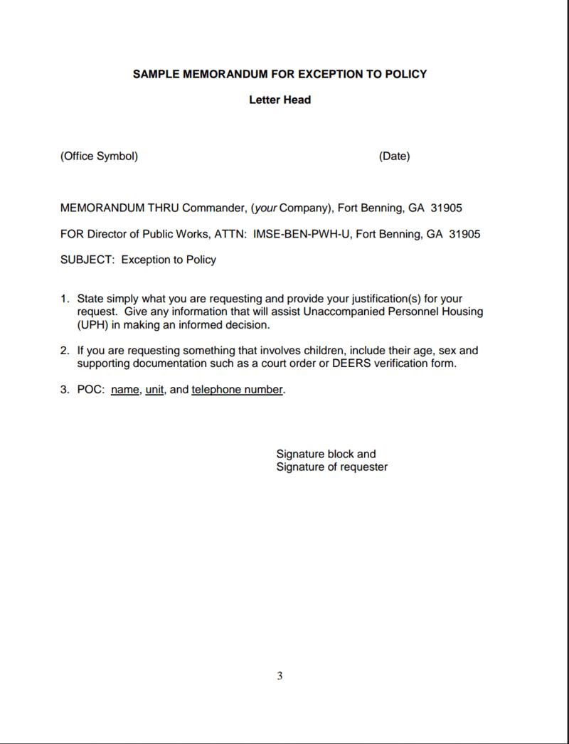 Air Force Policy Memorandum Letter