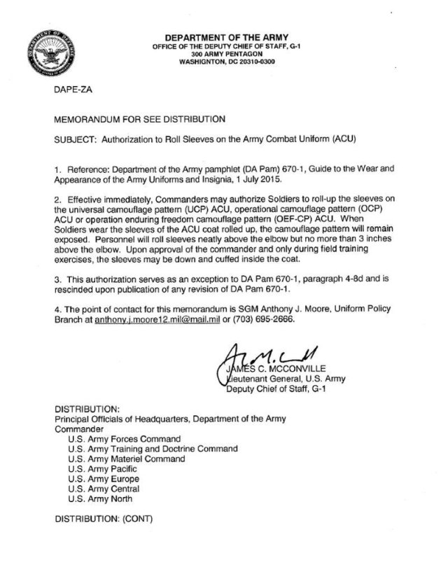 army memorandum - Cerel