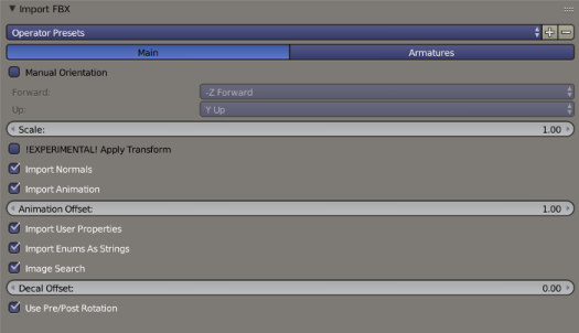 Blender FBX Import Main Options