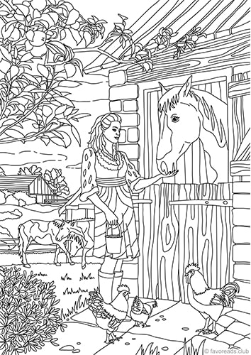 country barn  printable adult coloring pages from favoreads