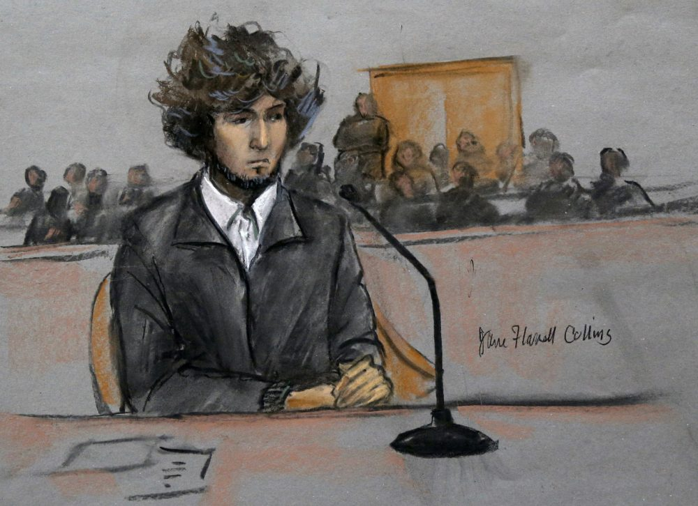 In this courtroom sketch, Dzhokhar Tsarnaev appears in federal court in Boston for a final hearing before his January trial. (Jane Flavell Collins/AP)
