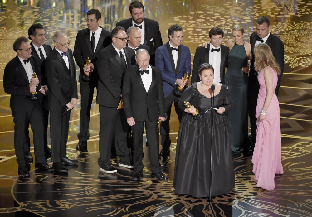 "The cast and crew of ""Spotlight"" accept the Oscar for Best Picture in 2016. (Chris Pizzello/Invision/AP)"