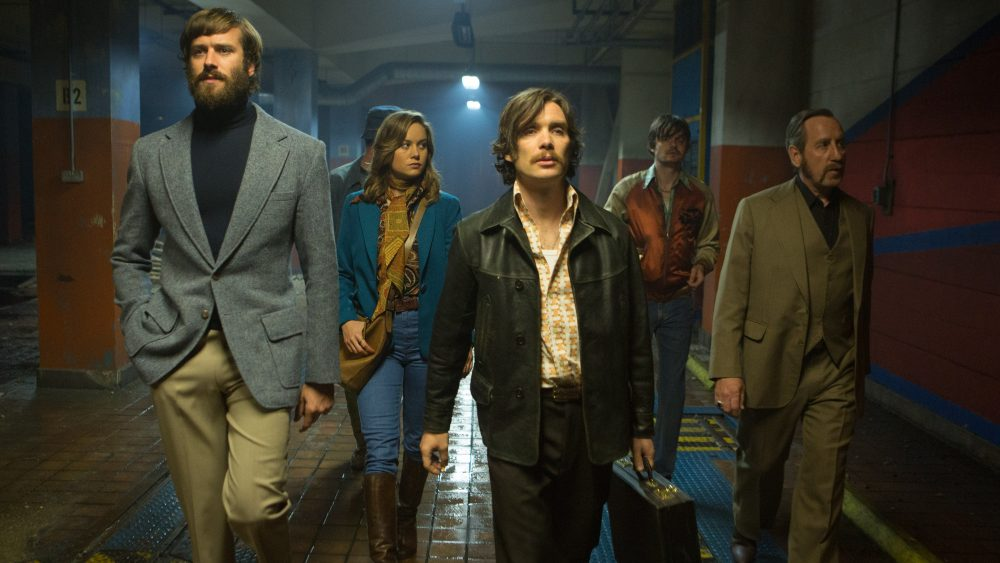 "Armie Hammer, Brie Larson, Cillian Murphy, Sam Riley and Michael Smiley in ""Free Fire."" (Courtesy Kerry Brown/A24)"