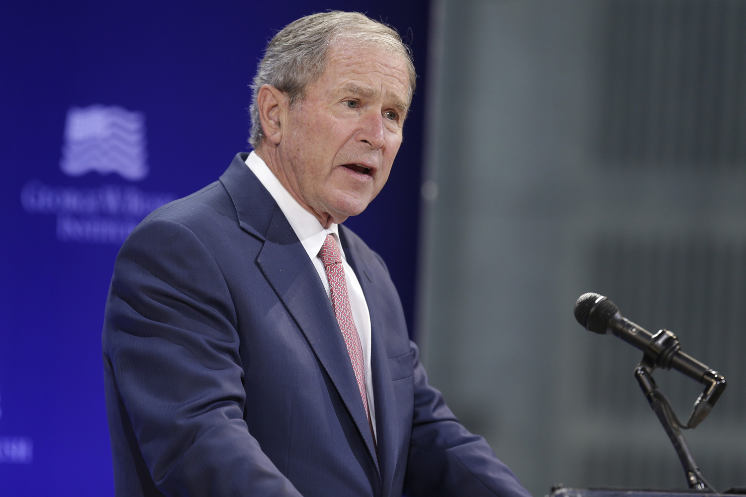 Former U.S. President George W. Bush speaks at a forum sponsored by the George W. Bush Institute in New York, Thursday, Oct. 19, 2017. (Seth Wenig/AP)
