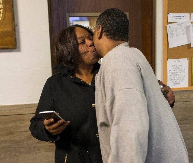 Trial Darrell Jones Embraces And Kisses His Sister Classie Howard After He Was Released On Bail