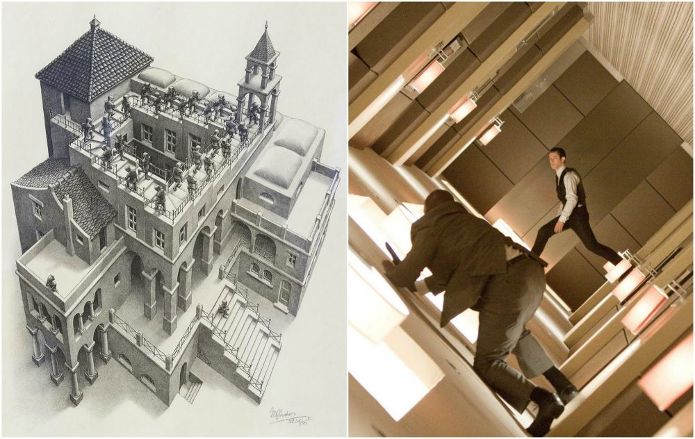 "On the left, M.C. Escher's ""Ascending and Descending."" On the right, a still from Christopher Nolan's ""Inception."" (Robin Lubbock/WBUR and MFA)"