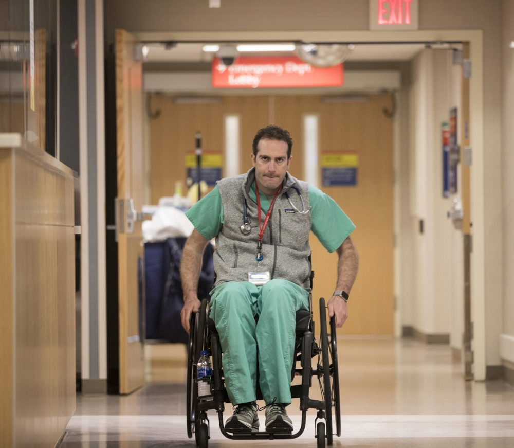 With dogged determination and the help of a world-renowned medical staff, Dr. Daniel Grossman has returned to work as an emergency room physician at the Mayo Clinic in Rochester, Minn. (Jerry Olson for Here & Now)