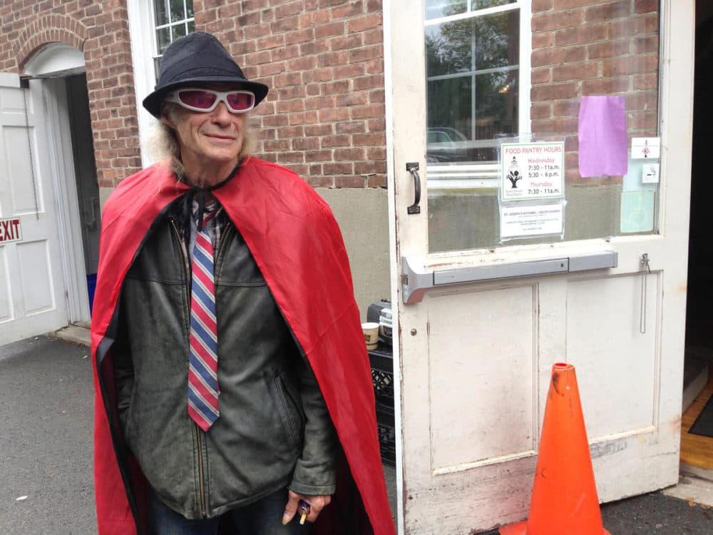 Joey Johnson outside the food pantry. (Nancy Eve Cohen/NEPR)