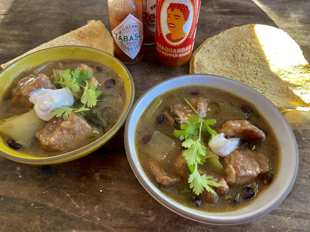 Mexican-inspired pork stew in green sauce with black beans. (Kathy Gunst)