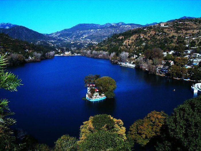 Panoramic views of Bhimtal lake near Nainital