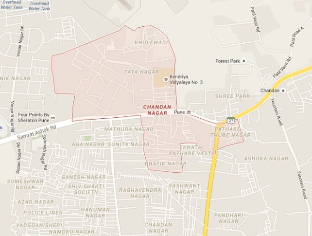 A map of the Chandan Nagar haunted area in Pune