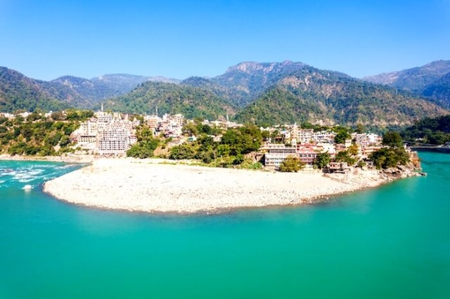 View of Rishikesh with Ganges and mountains