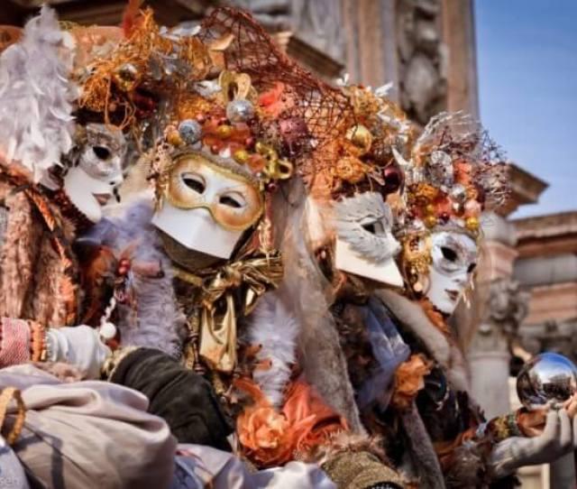 People In Venetian Mask During Venice Carnival