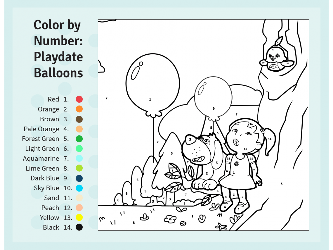 Color By Number Preschool Worksheet Color Best Free