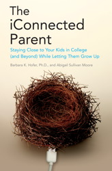 A photograph of a book with an image of an empty nest on the cover and the title The iConnected Parent by Barbara Hofer