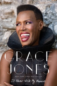 Cover image Grace Jones' book, featuring a frontal upper-body photograph of the author wearing a black sleeveless top with a high collar while leaning against a stone wall. She is smiling, with gaze directed sideways.