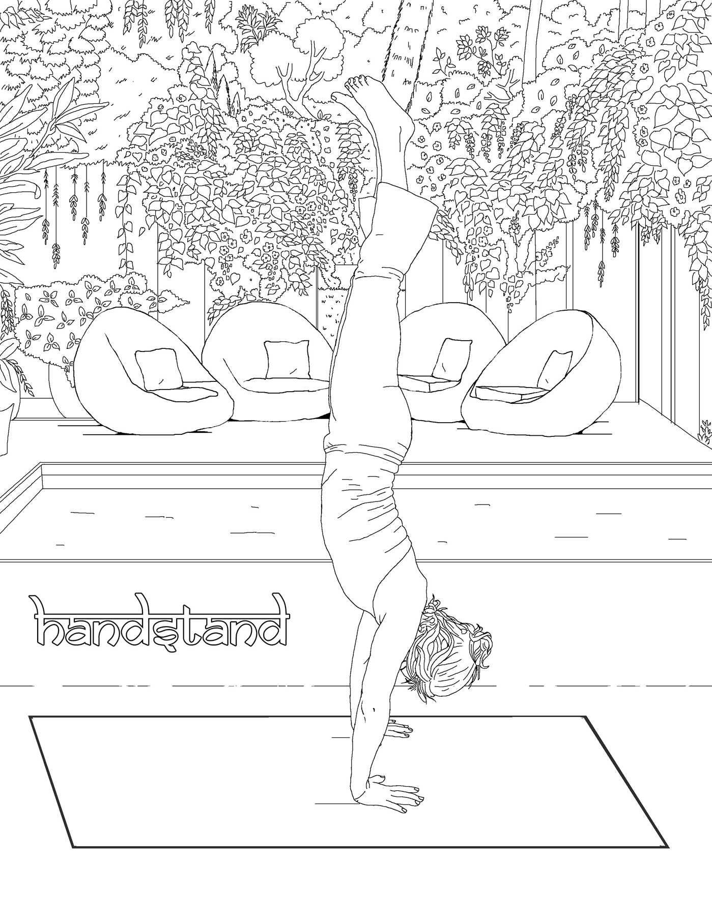 Yoga Pose Coloring Book Coloring Page
