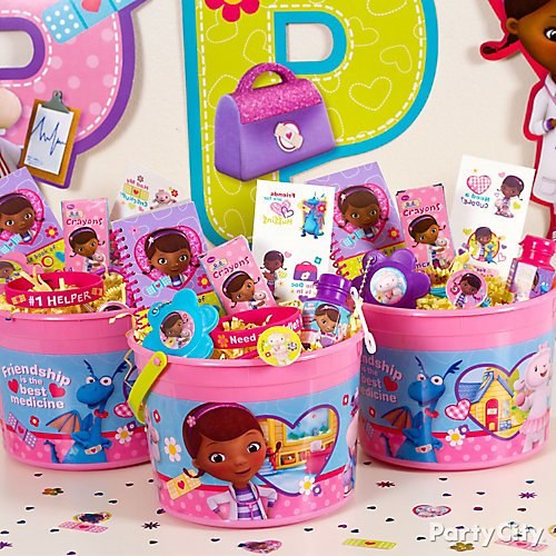 curated image with doc mcstuffins favor container 4in doc mcstuffins flower mirror key chains 24