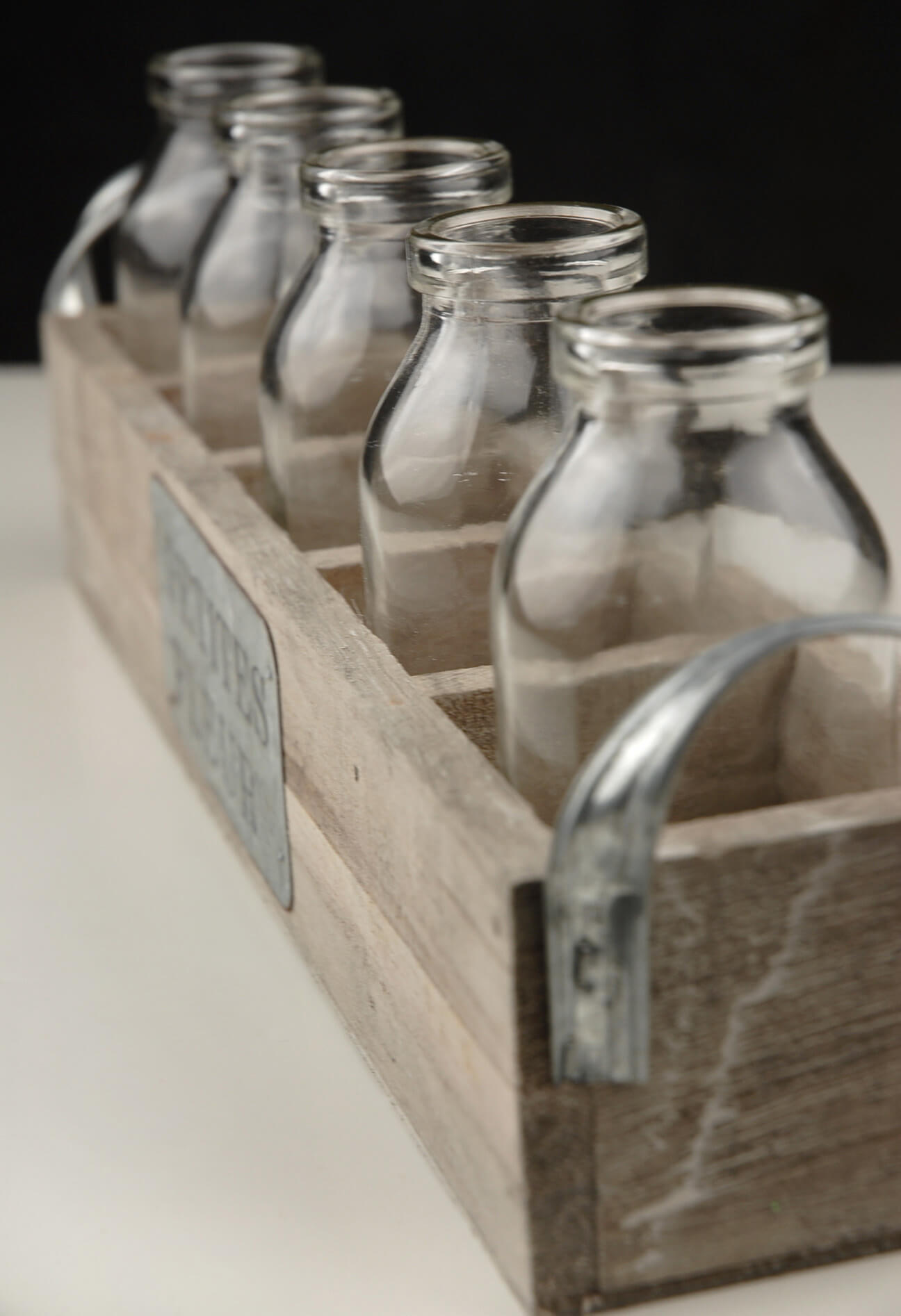 Milk Bottles Amp Wood Crate Petites Fleur 12 5 Bottles