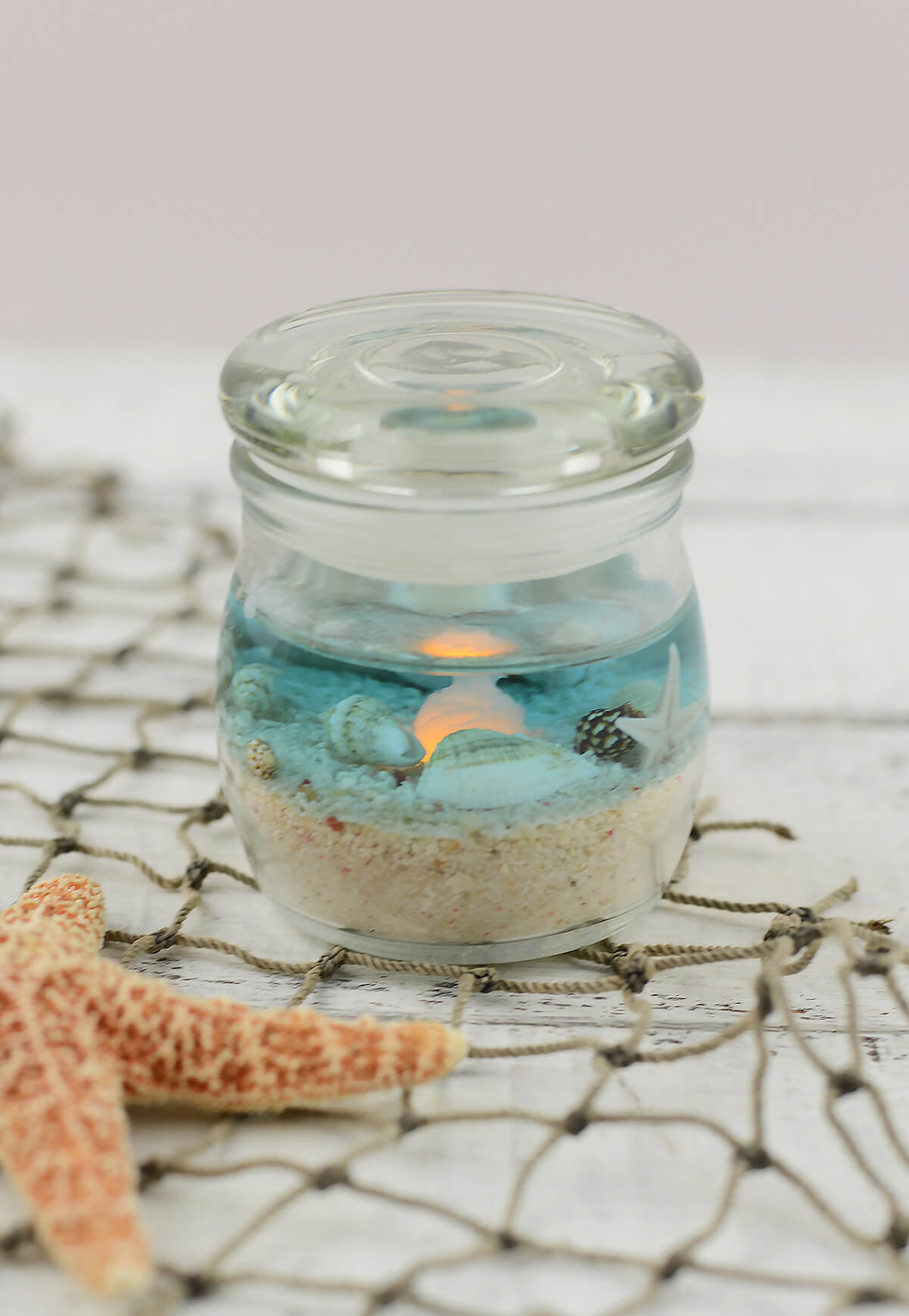 Beach Jar Candle 2x25in Battery Op Beach Wedding Favors