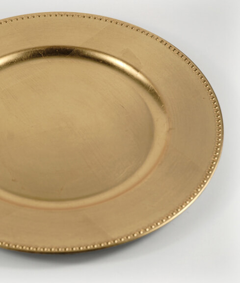 6 Gold Leaf Charger 13 Plates Beaded Edge