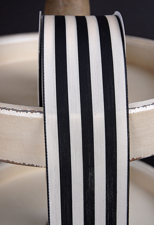 Black Amp Ivory Striped Ribbon 25 X 10 Yards