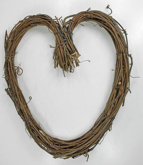 Handmade Grapevine 14 Heart Wreath