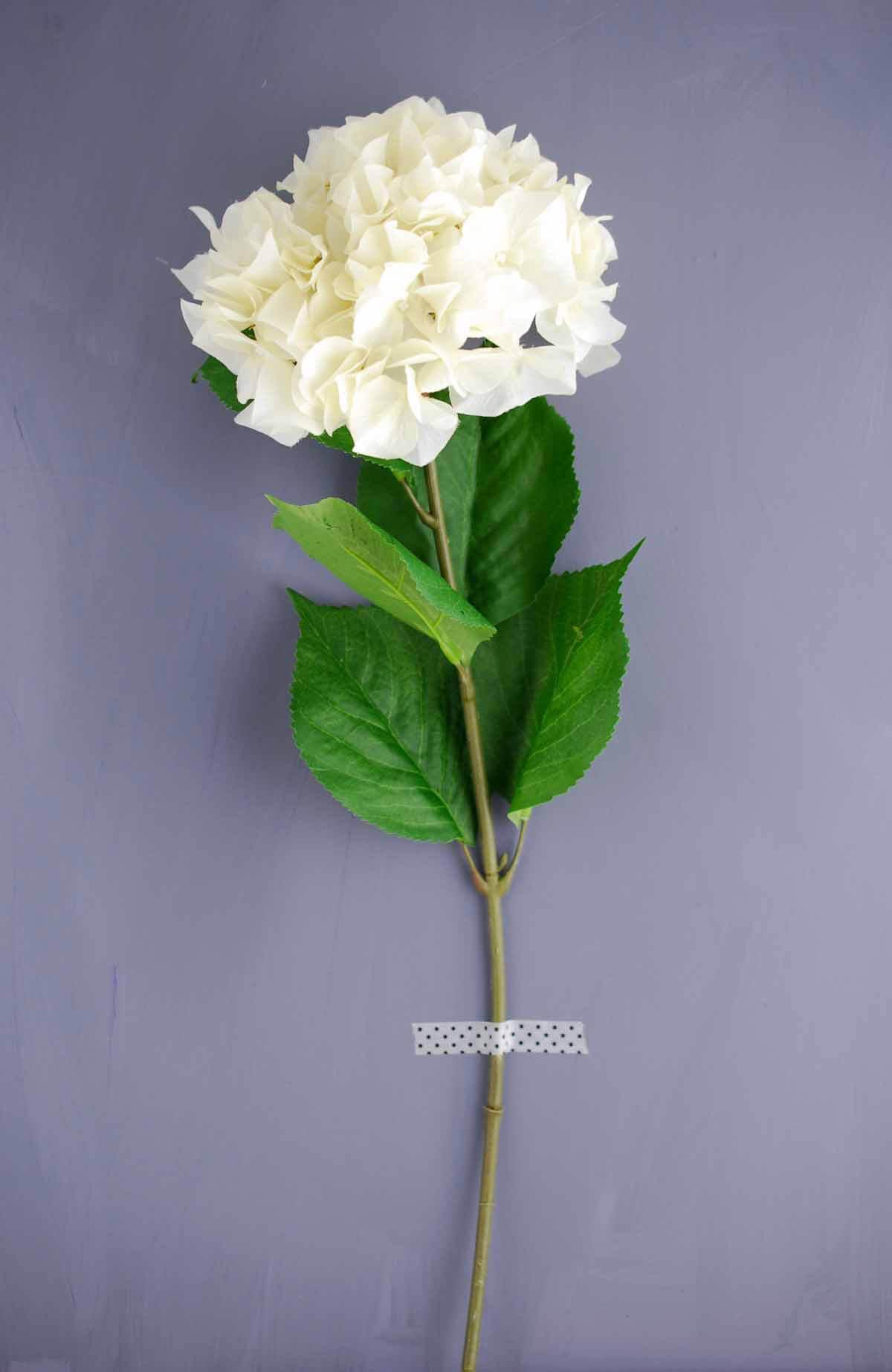Artificial Ivory White Hydrangea Flowers 7in Bloom