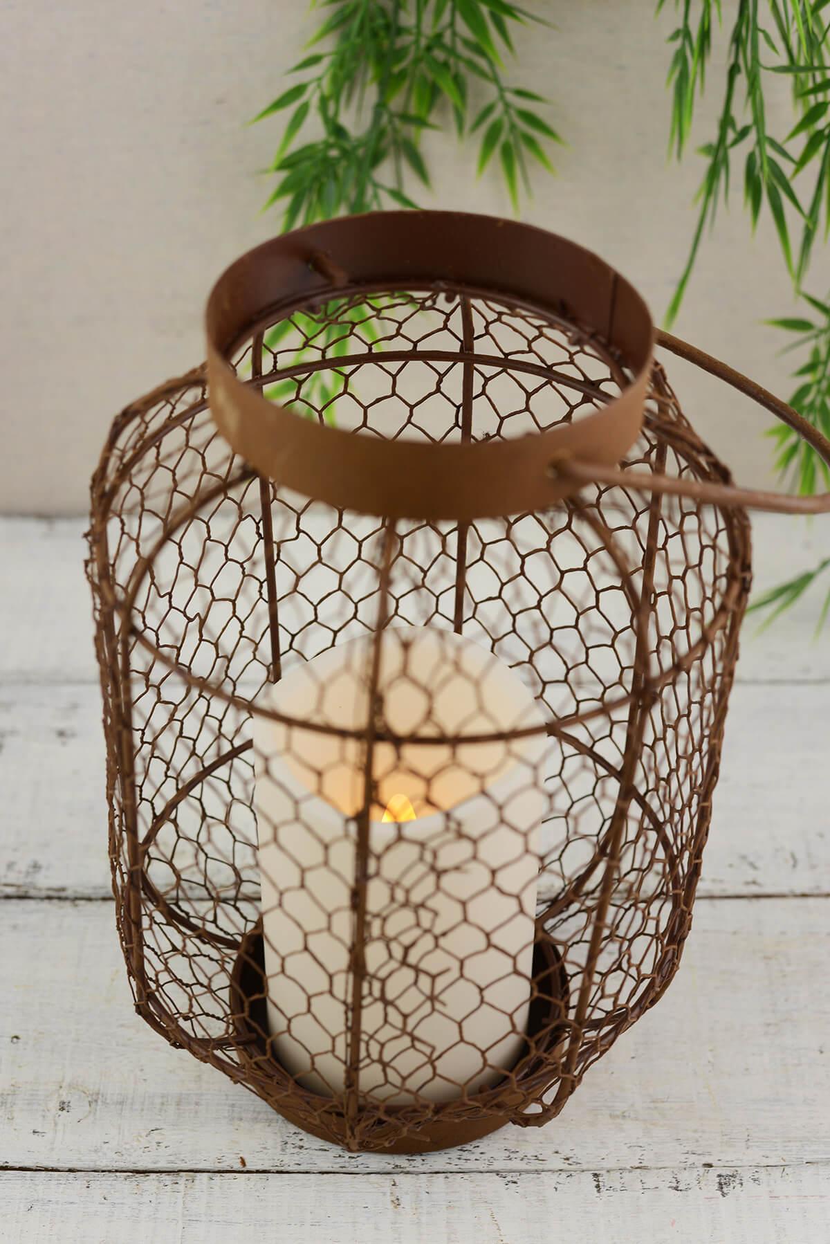 Rustic Metal Lantern W Flameless Led Resin Candle Light