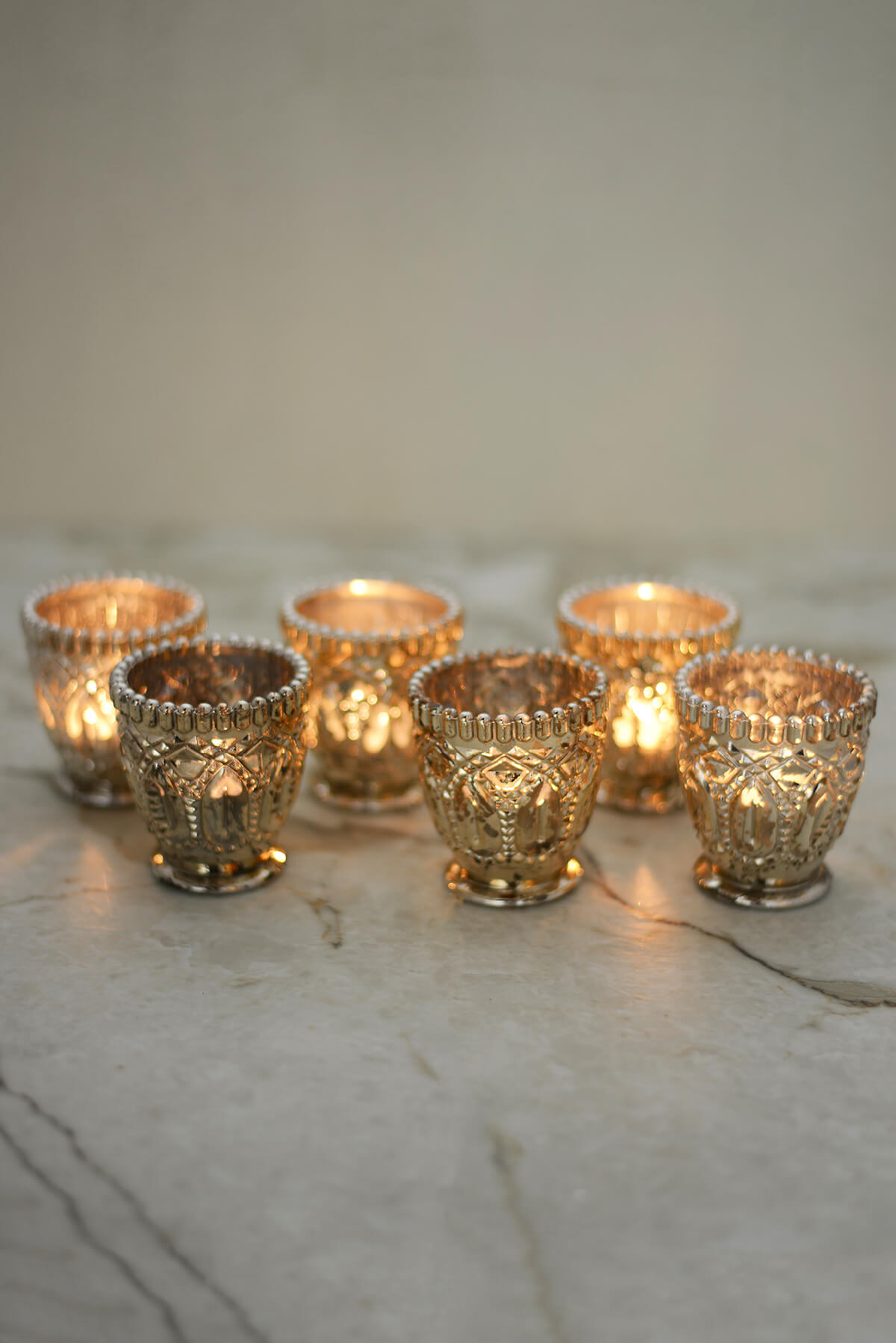 6 Mercury Glass Votive Candle Holders