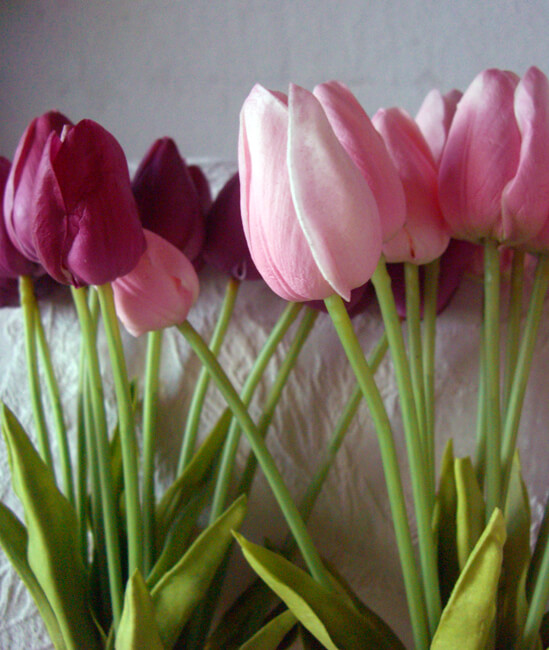 Real Touch Silk Flower Mini Pink Tulip Bouquet 15