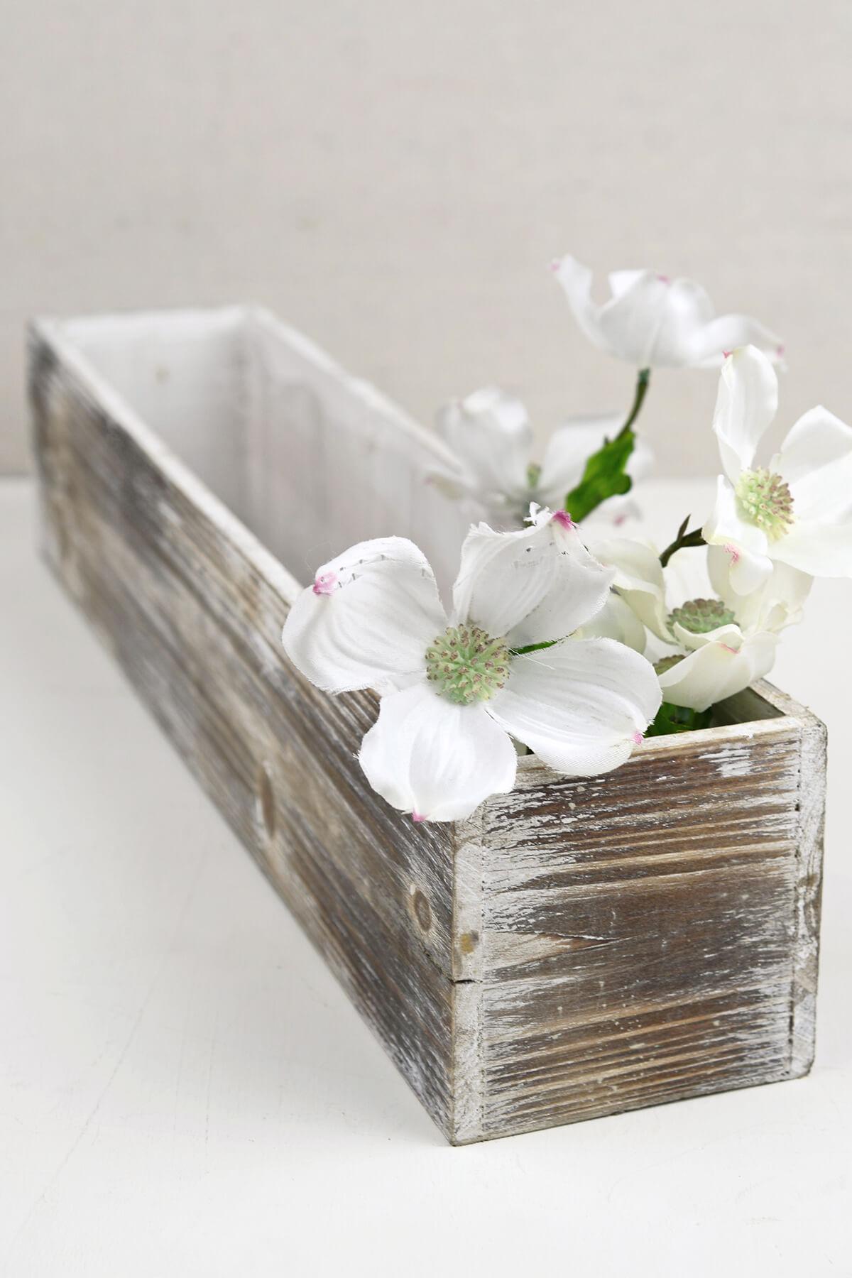 White Washed 4x20 Planter Boxes Wood
