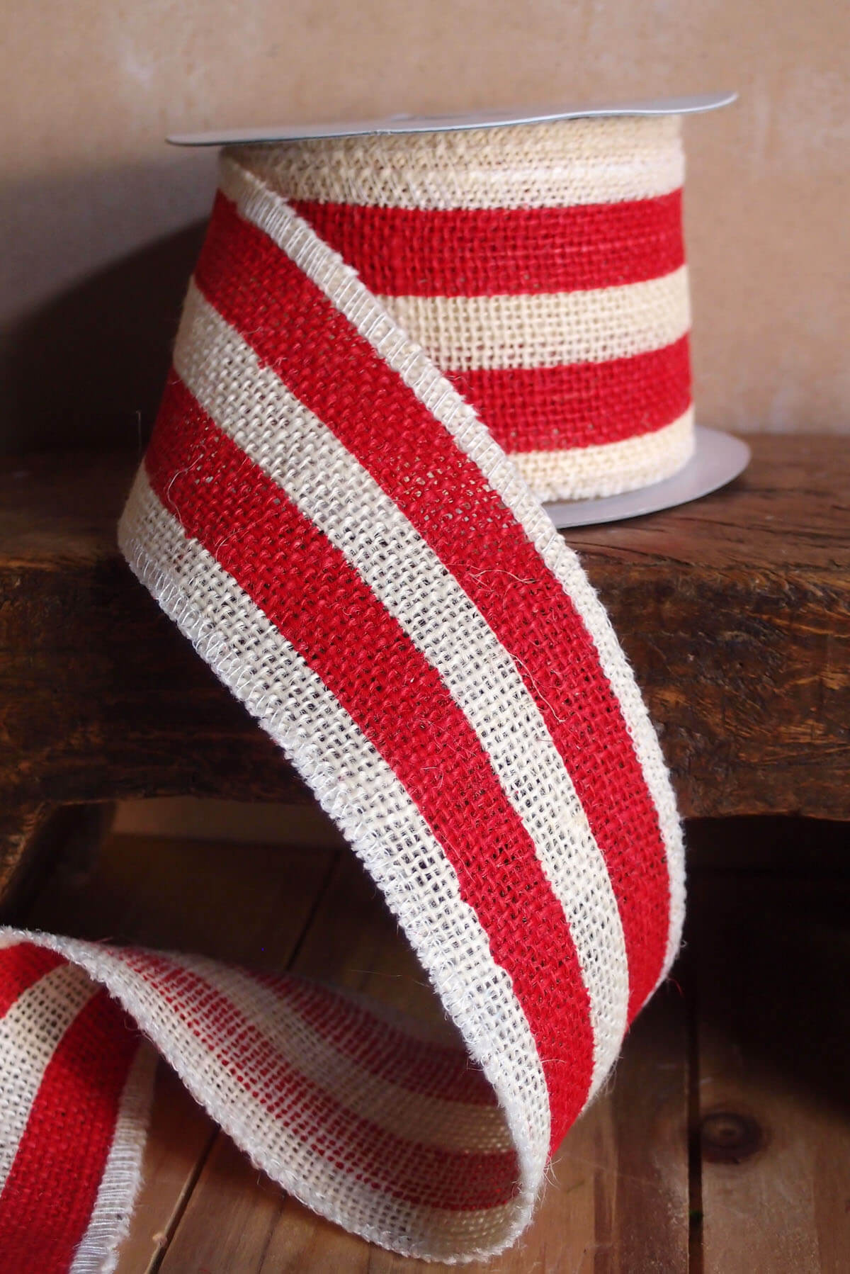 Red Amp White Striped Burlap Ribbon 25 Width X 10 Yds