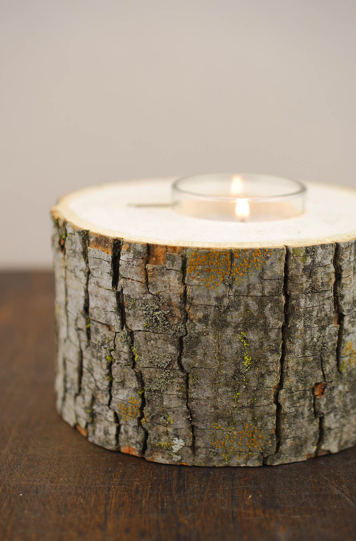 Natural 5 Wide Tree Branch Votive Holder With Candle