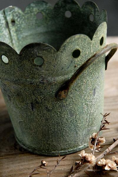 Verdigris Green 4in Scalloped Metal Bucket With 2 Handles