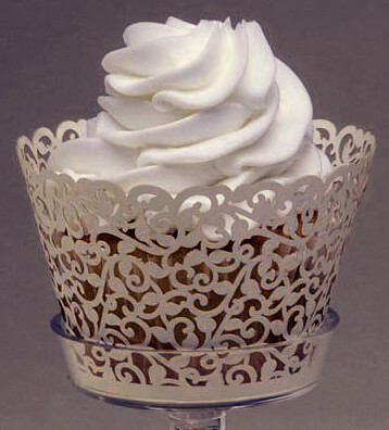 Wedding Cupcake Wrappers Ivory Vine Pattern Pack Of 50