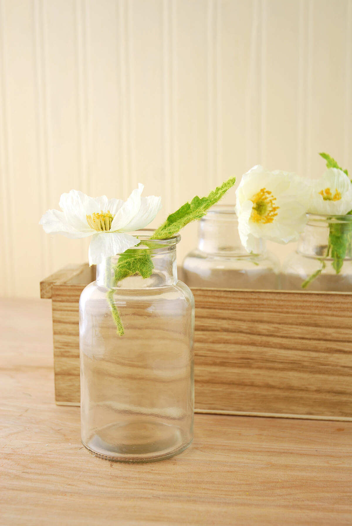 3 Glass Bottle Vases In Wood Box 10