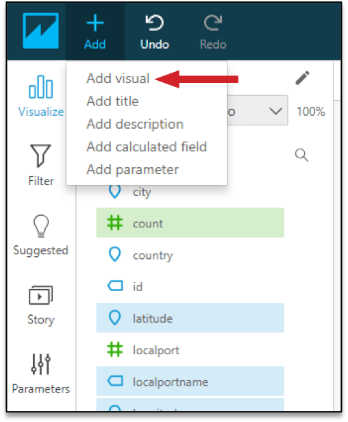 Figure 14: Add another visual using the 'Add' option from the Amazon QuickSight menu bar