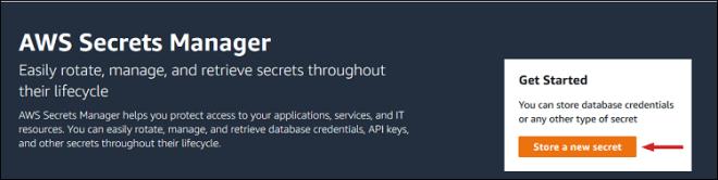 "Figure 1: Select ""Store a new secret"""